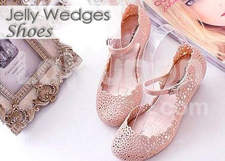 Women Jelly Flower Wedge Shoes