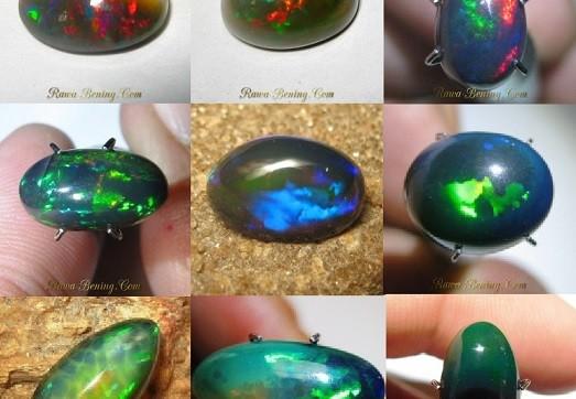 9 Batu Black Opal Asli Afrika Kualitas Pilihan