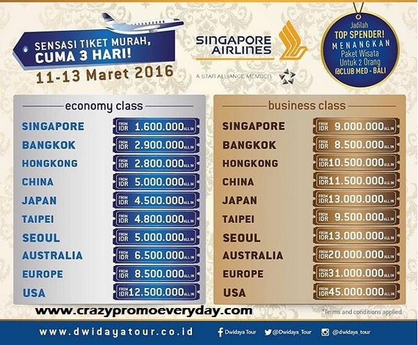 Harga Promo Tiket Pesawat Murah Singapore Airlines