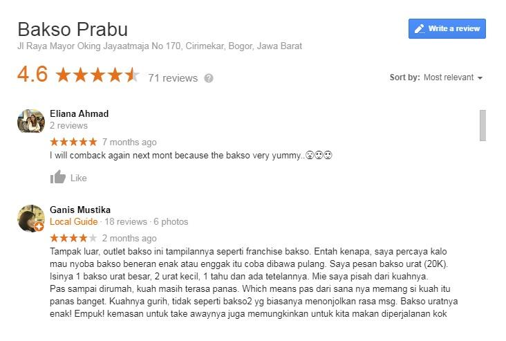 review bakso prabu cibinong